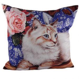 Декоративная подушка Кот с розой