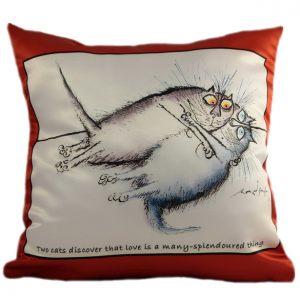 Прикольная декоративная подушка Коты-15