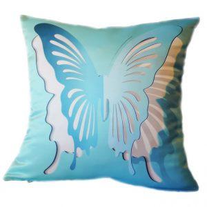 Подушка Бабочка 3D голубая