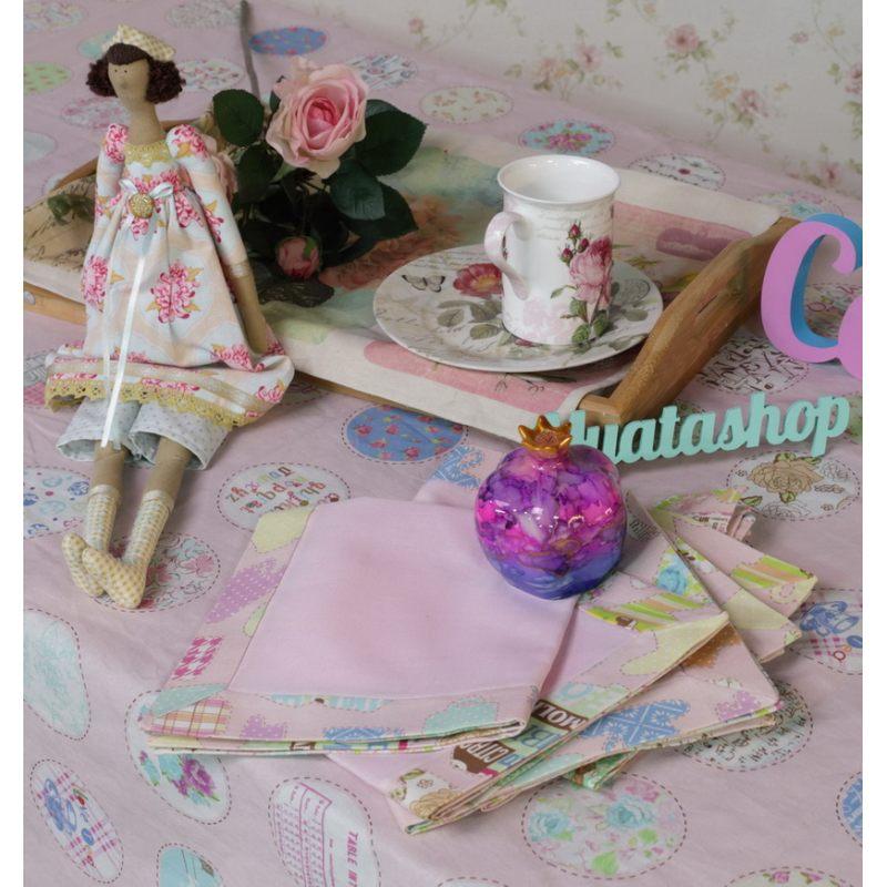 Льняная салфетка Розовое чаепитие