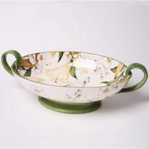 Ваза декоративная овальная для фруктов 40x24 см Белая Лилия