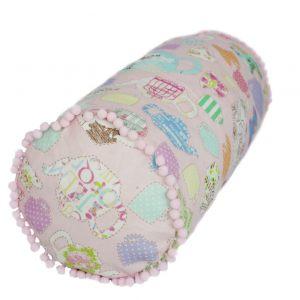 Подушка валик с помпонами Розовое чаепитие