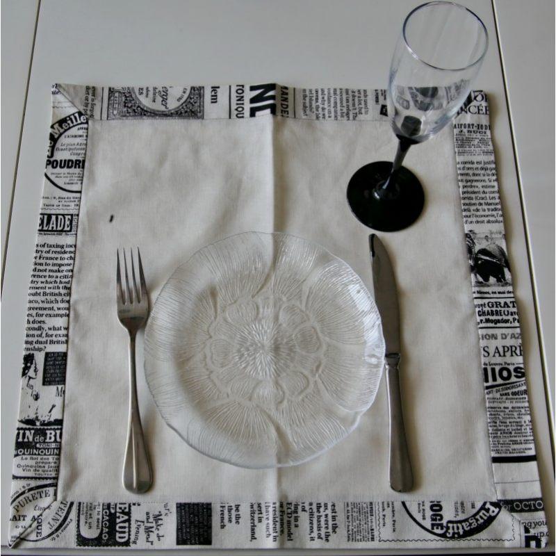 Льняная салфетка Черно-белая