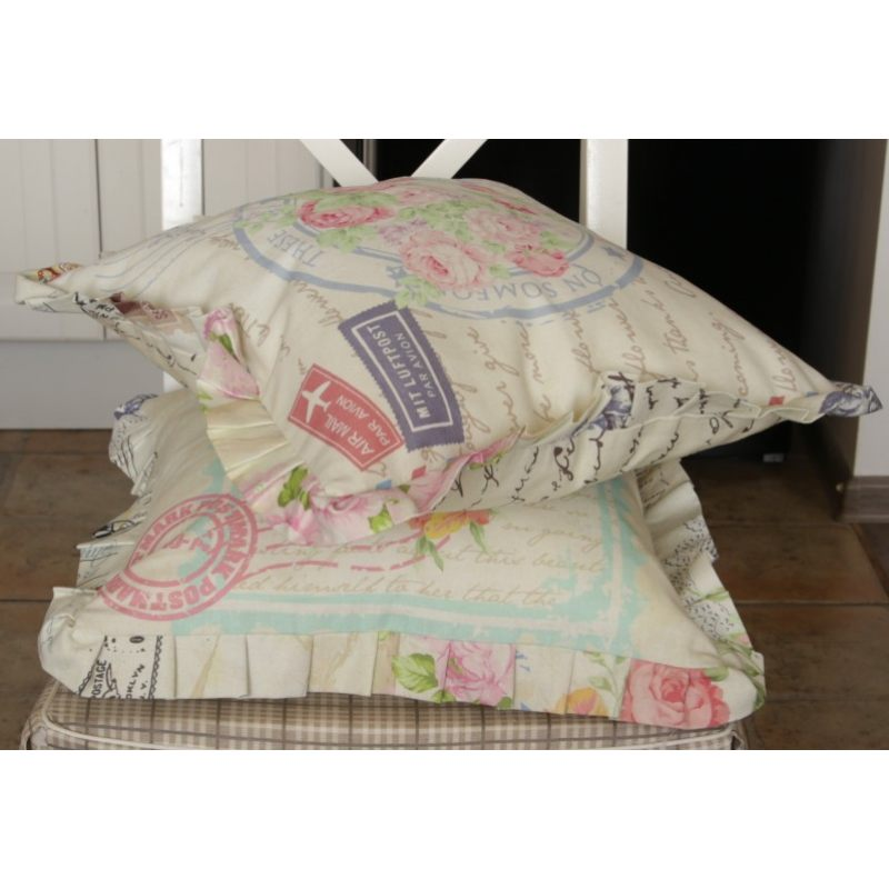 Льняная подушка  с рюшами Туманное письмо