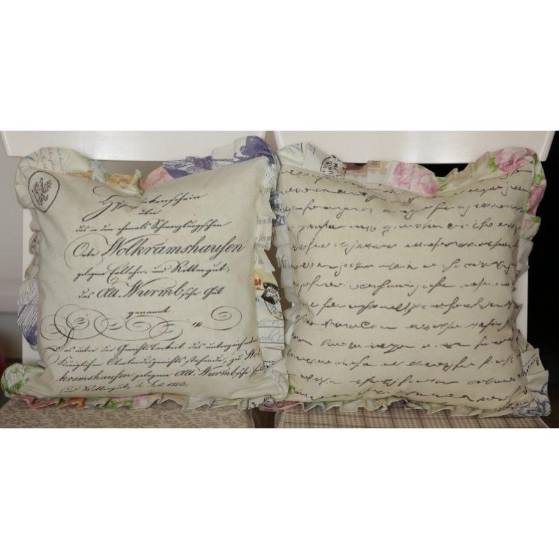 Льняная подушка  с оборками Туманное письмо