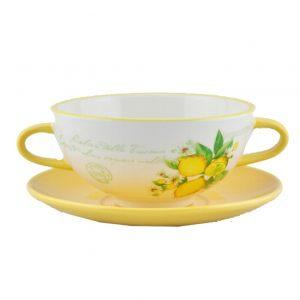 Чашка суповая с блюдцем Лимоны