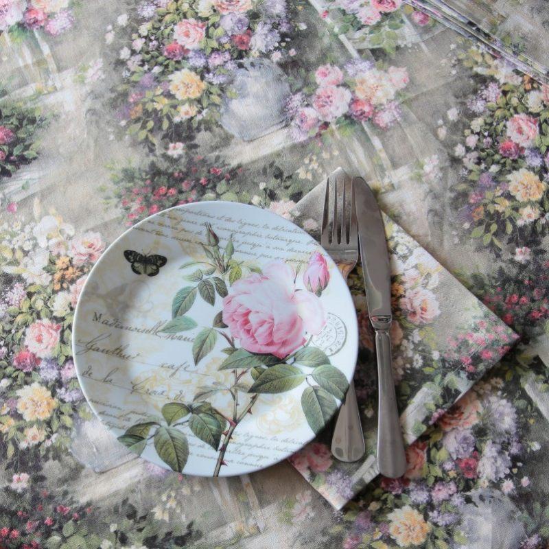 Льняные салфетки Цветы