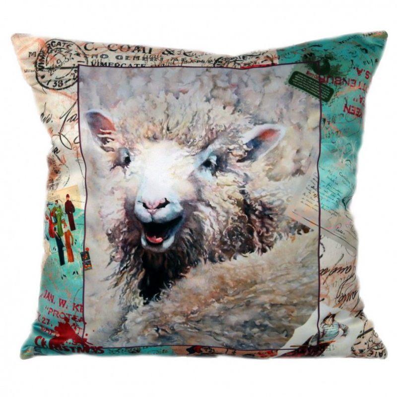 Декоративная подушка Овечка в стиле ретро