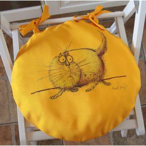 Круглая сидушка Желтый кот 2