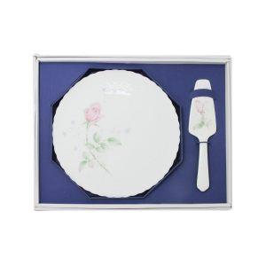 Набор для торта: блюдо с лопаткой Апрельская роза
