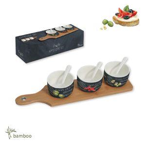 Набор для закуски Мир сыров: 3 чаши с ложками, поднос