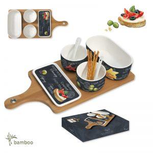 Набор для закуски Мир сыров: 2 чаши с ложками, салатник, блюдо, поднос