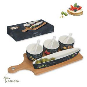 Набор для закуски Мир сыров: 3 чаши с ложками, блюдо, поднос