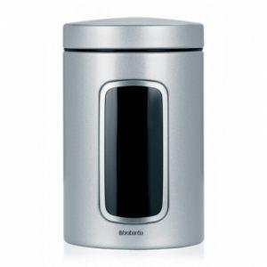 Контейнер для сыпучих продуктов Brabantia с окном (1,4 л) - Metallic grey (серый металлик)