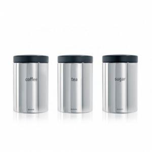 Набор контейнеров для кофе, чая и сахара Brabantia (3 предмета) - Brilliant Steel (полированная сталь)