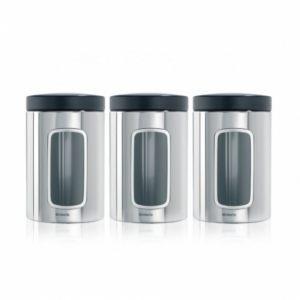 Набор контейнеров Brabantia с окном (3 предмета по 1,4л) - Brilliant Steel (полированная сталь)