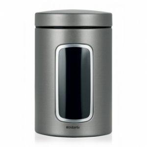 Контейнер для сыпучих продуктов Brabantia с окном (1,4 л) - Platinum (платина)
