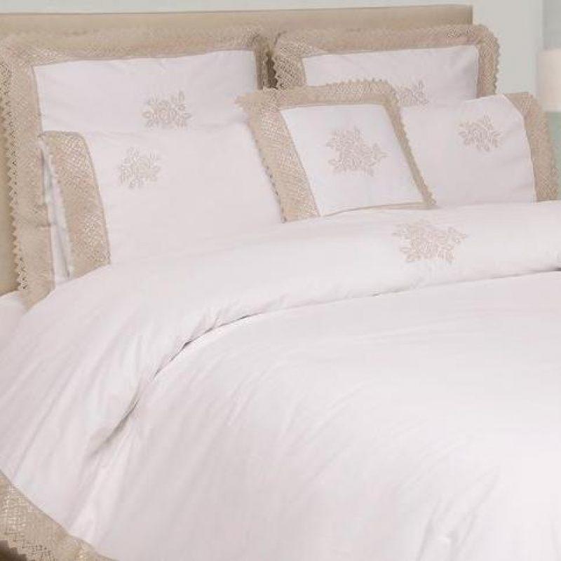 """Комплект постельного белья """"ROSE"""" белый/натуральный"""