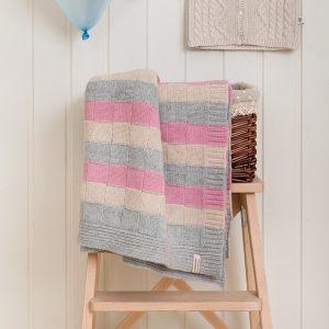 "Плед детский ""LUX 218"", розовый/белый/серый"