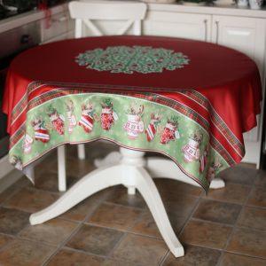 Красная скатерть Снежинка
