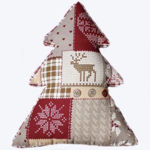 Подушка-елка в стиле пэчворк