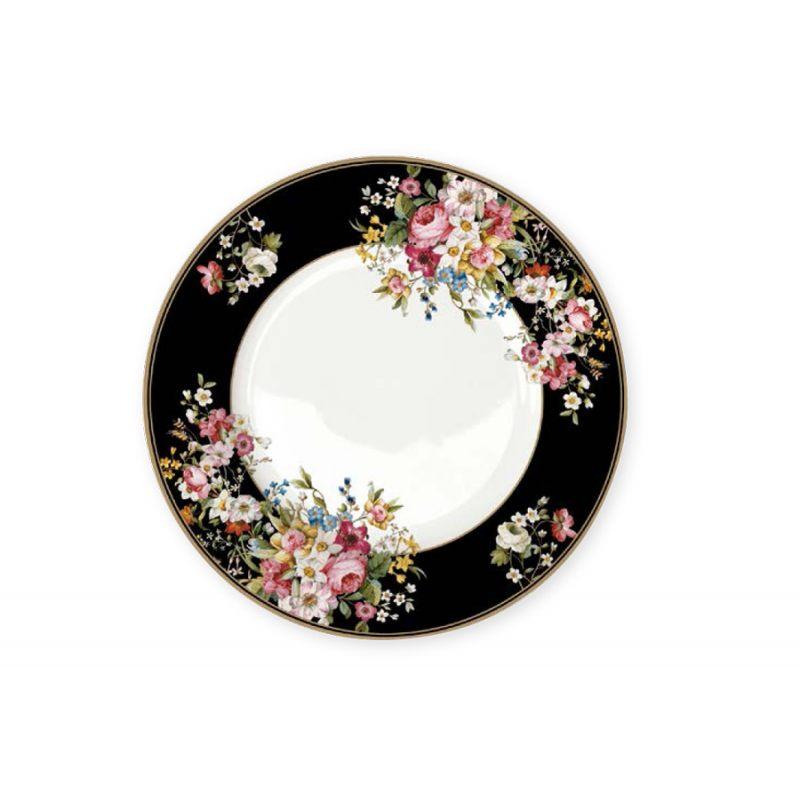 Тарелка обеденная Цветочный карнавал, тёмная