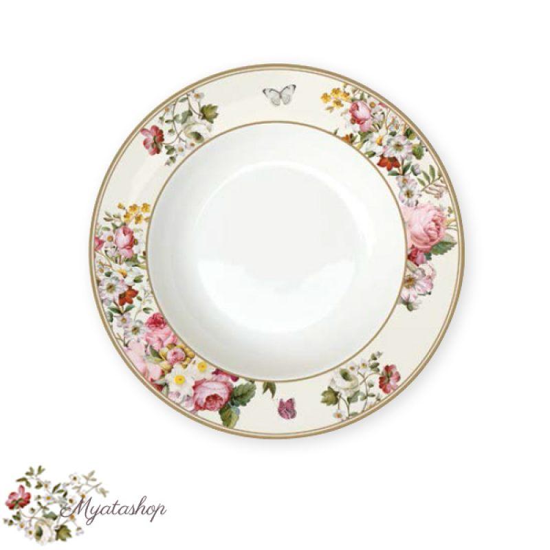 Тарелка суповая Цветочный карнавал, светлая