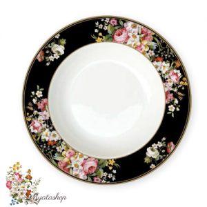 Тарелка суповая Цветочный карнавал, тёмная