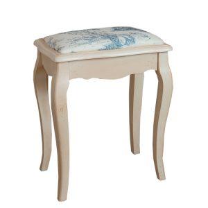 """Табурет с мягким сиденьем к макияжному столику Mobiler de Maison Blanc bonbon """"Белая карамель"""" с голубым принтом"""
