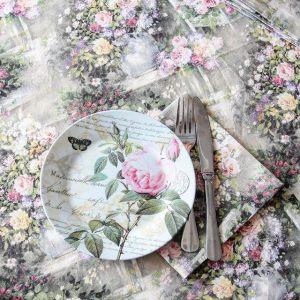 Льняная скатерть Цветы