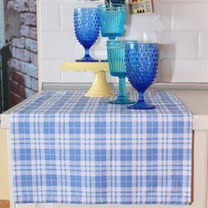 Дорожка на стол в клетку голубая
