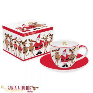 Чашка с блюдцем SANTA&FRENDS