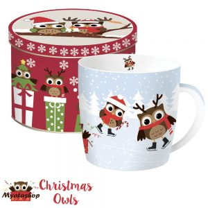 Кружка Совята на льду Christmas owls