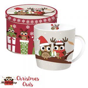 Кружка Совята на ветке Christmas owls