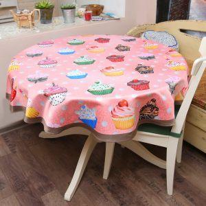 Скатерть розовая круглая десертная