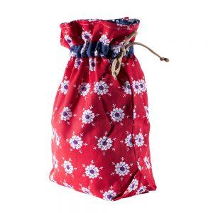 Мешок для подарков Елочные игрушки красные