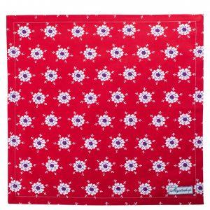 Салфетки текстильные Елочные игрушки красные