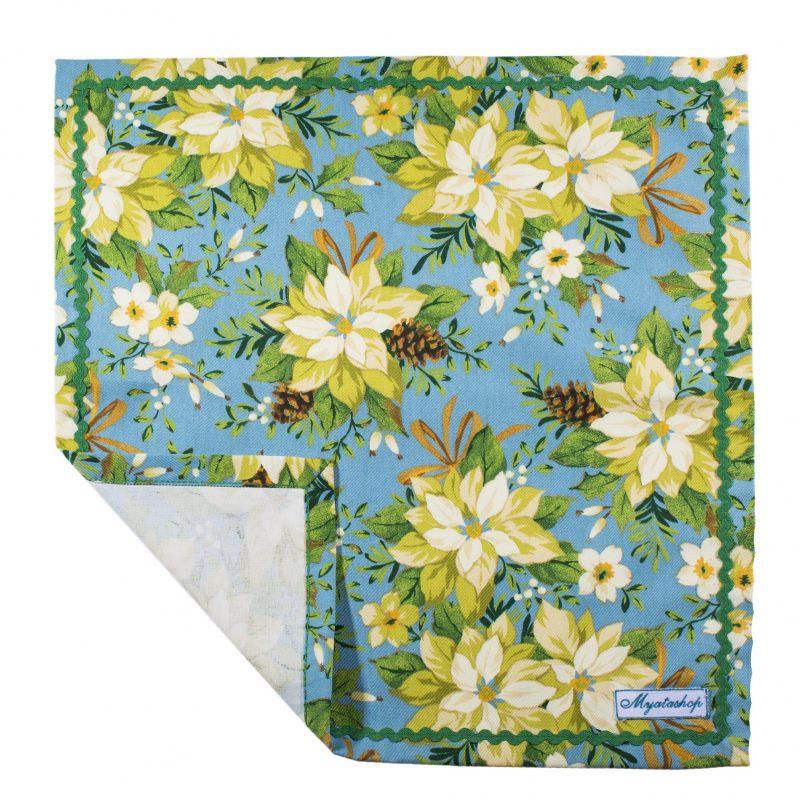 Салфетки текстильные Пуансетия голубая