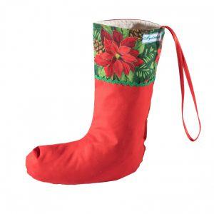 Сапог новогодний Пуансетия красная на зеленом