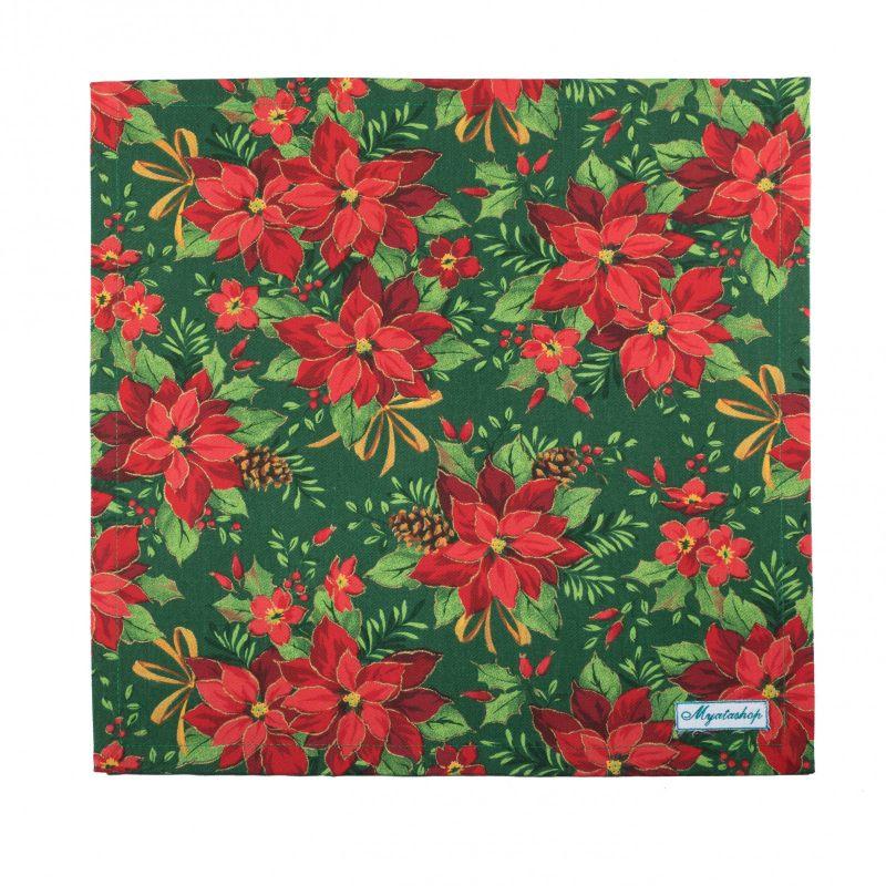 Салфетки текстильные Пуансетия красная на зеленом