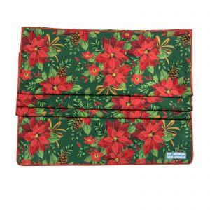 Дорожка на стол Пуансетия красная на зеленом