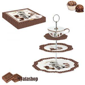 Трехъярусная ваза для фруктов и сладостей Vintage chocolate