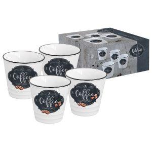 Набор из 4-х чашек для кофе Kitchen basic в подарочной упаковке