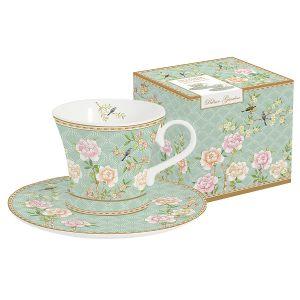 Набор: 2 чашки + 2 блюдца для кофе Дворцовый парк (салатовый)