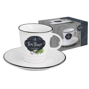 Чашка с блюдцем Kitchen basic (чай) в подарочной упаковке