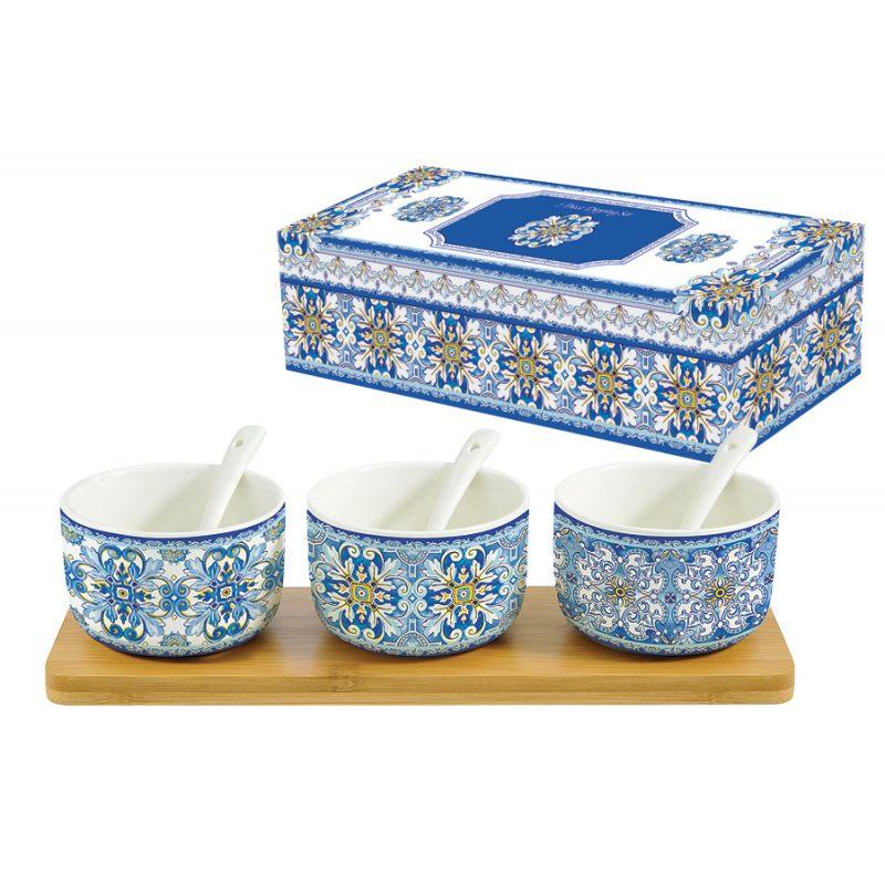 Набор для закуски: 3 салатника с 3 ложками на подносе Майолика (голубая)