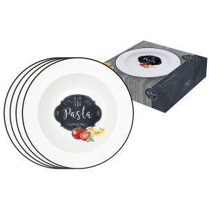 Набор из 4-х тарелок для пасты Kitchen basic в подарочной упаковке