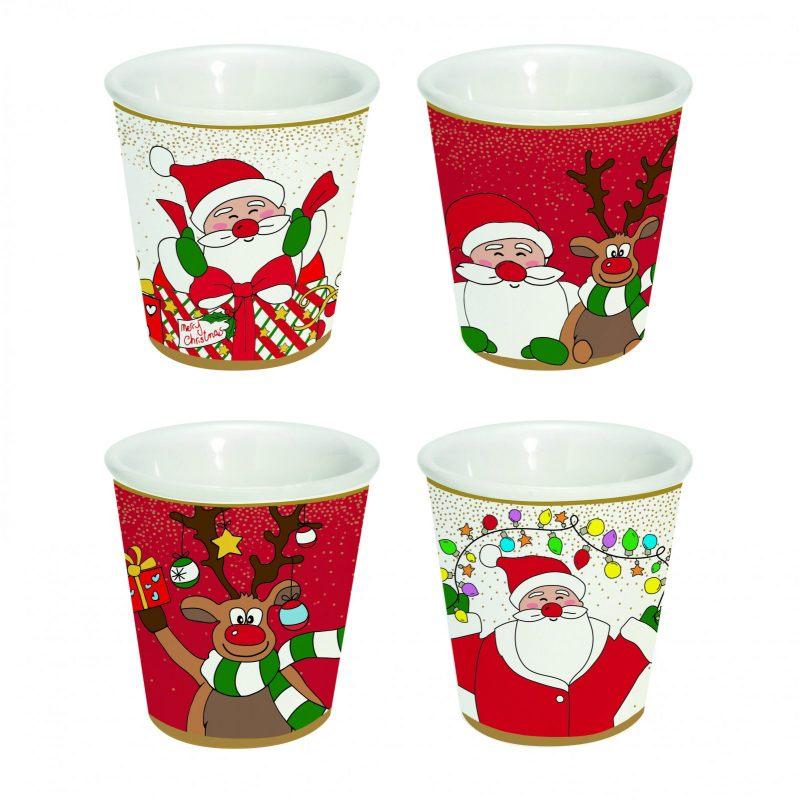 Набор из 4-х кофейных чашек  Christmas friends 100 мл