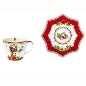Чайная пара Vintage christmas красная 250 мл