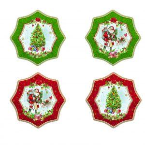 Комплект 4 десертные тарелки Vintage christmas 16 см